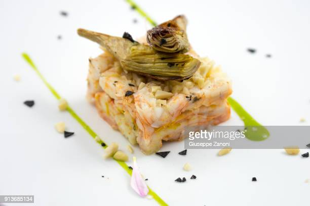 Timbale of shrimps and squids