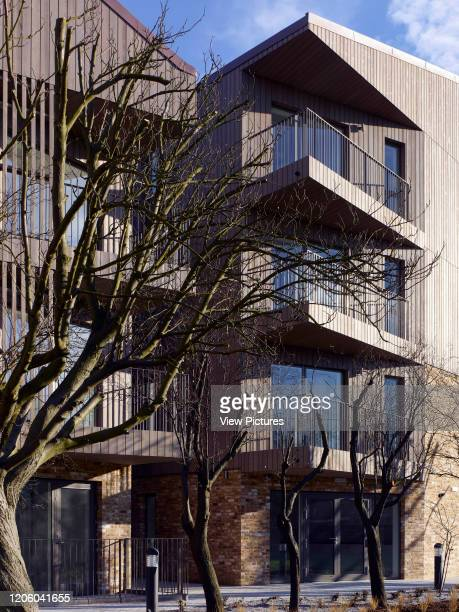 Timber facade and balconies Bruyn's Court South Ockendon United Kingdom Architect Bell Phillips Architects 2016
