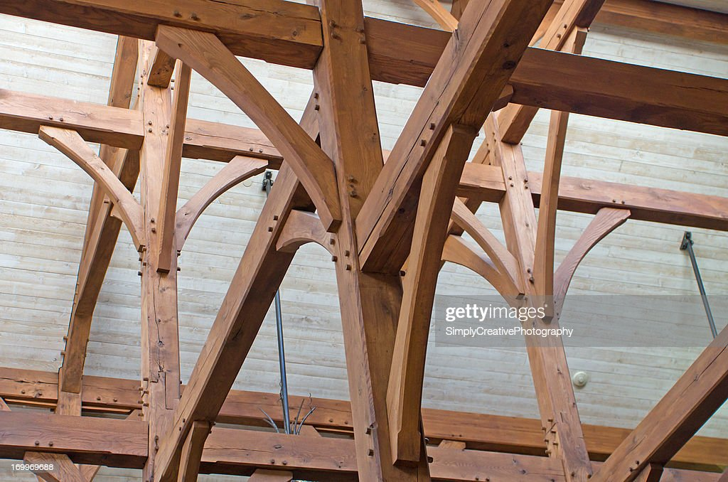 Timber Frame Construction. RF. Roof Support Beams ...