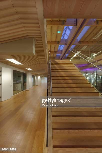 Timber staircase to first floor with timber floor and timber ceiling and skylight IBC Innovation Factory Kolding Denmark Architect schmidt hammer...