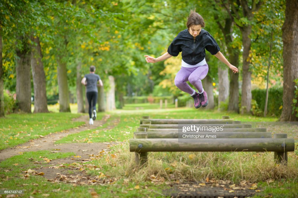 Timber Trail Circuit Training in City Public Park : Stock Photo
