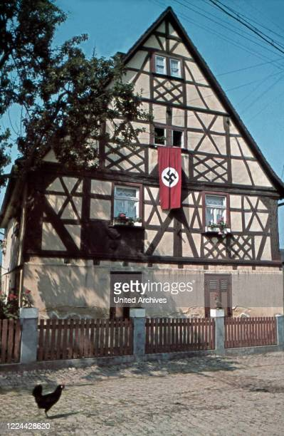 Timbered house at the village of Traun in Thuringia, Germany 1930s.