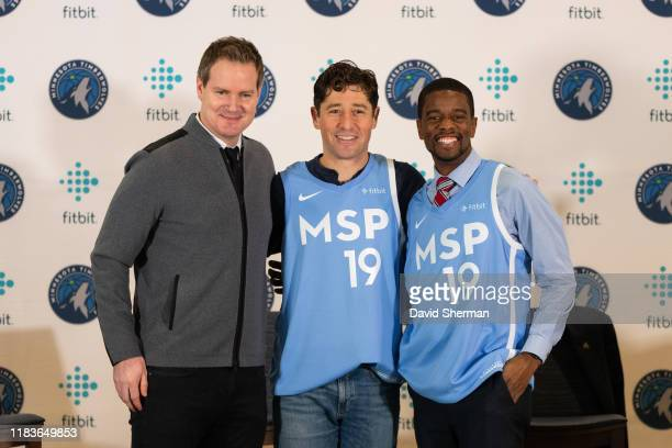 Timberwolves and Lynx Chief Executive Officer Ethan Casson St Paul Mayor Melvin Carter and Minneapolis Mayor Jacob Frey unveil the Minnesota...