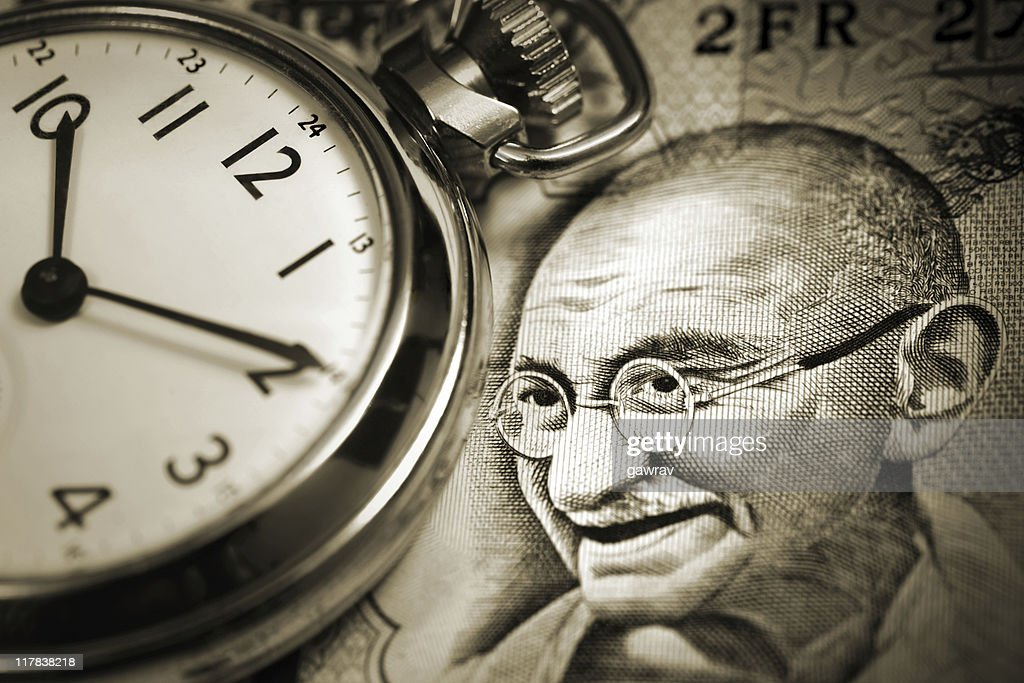 Time and Gandhi : Stock Photo