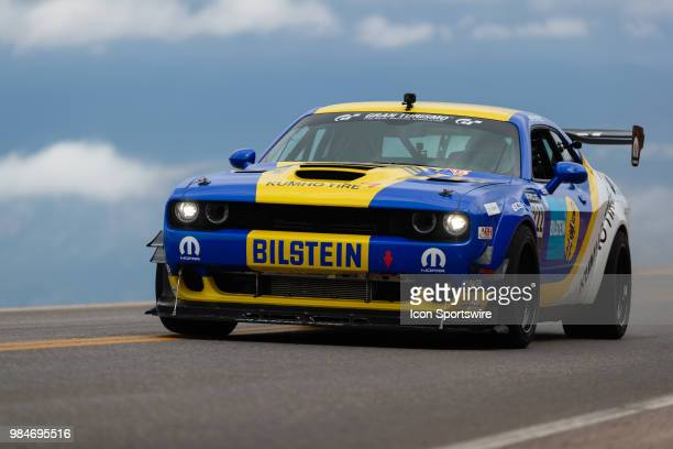Time Attack 1 Division driver Kevin Wesley in his 2018 Dodge Challenger during the 2018 Pikes Peak International Hill Climb on June 24 in Pikes Peak,...