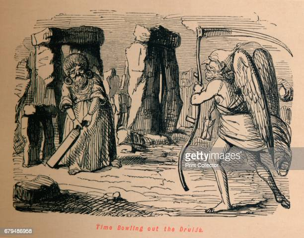 Time Bowling out the Druids' c1860 From The Comic History of England Volume I by Gilbert A A'Beckett [Bradbury Agnew Co London] Artist John Leech