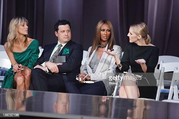 """Time Capsule"""" Episode 104 -- Pictured: Judges Anja Rubik, Isaac Mizrahi, Iman, Laura Brown"""