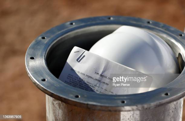 A time capsule sealed in 1988 is opened at the new Sydney Football Stadium on August 05 2020 in Sydney Australia Construction on the new stadium...