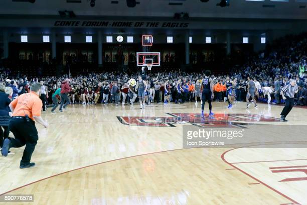 Time expires during a game between the Boston College Eagles and the Duke University Blue Devils on December 9 at Conte Forum in Chestnut Hill...