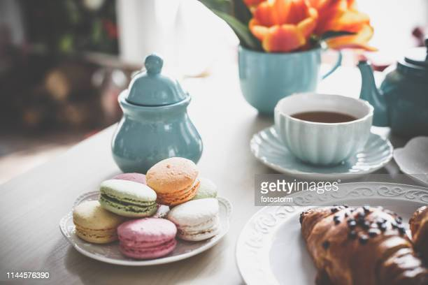 time for tea and sweet dessert - still life stock pictures, royalty-free photos & images