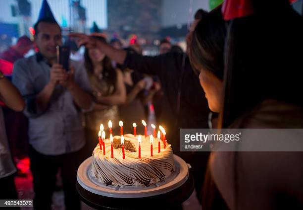 time for the birthday cake! - birthday cake stock pictures, royalty-free photos & images