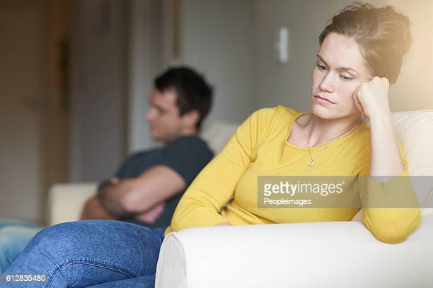 time for the silent treatment - couple arguing stock photos and pictures