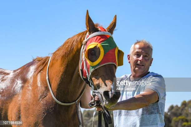 Time Ford after winning the Ord's Motorcycles BM58 Handicap at Ararat Racecourse on December 11 2018 in Ararat Australia