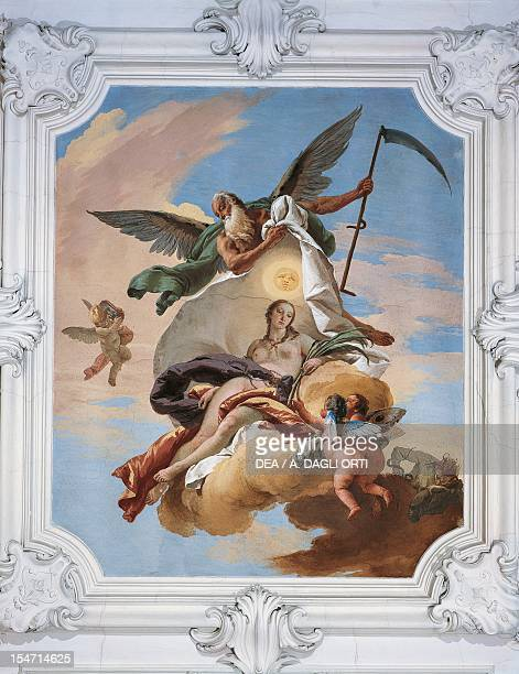 Time hunting Envy and discovering the Truth by Giovanni Battista Tiepolo fresco Villa LoschiZileri Biron Monteviale Veneto Italy 18th century