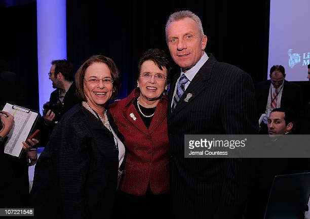 Time Inc CEO Ann Moore, Billie Jean King and Retired NFL player Joe Montana pose during the 2010 Sports Illustrated Sportsman of the Year Celebration...