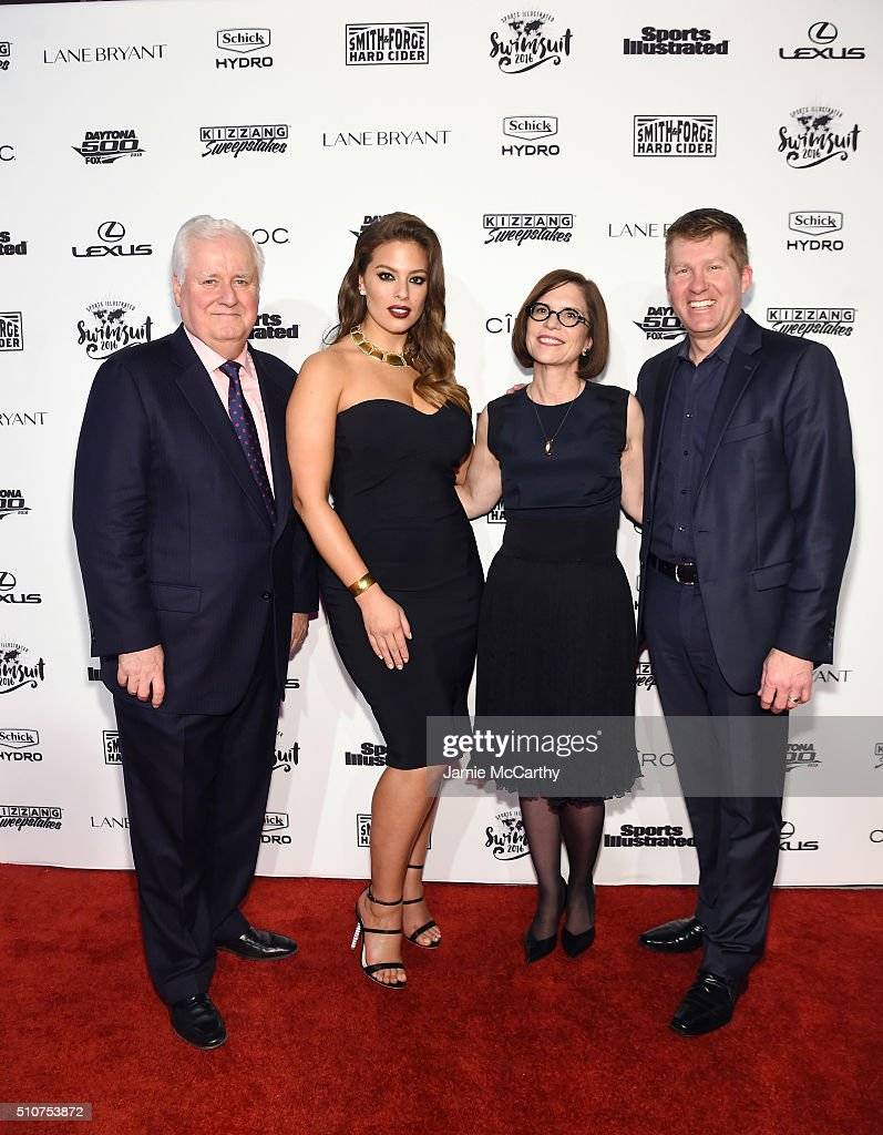 CEO Time Inc., Joe Ripp, Sports Illustrated cover model Ashley Graham, Lane Bryant CEO Linda Heasley and Lane Bryant CMO Brian Beitler attend the Sports Illustrated Swimsuit 2016 - NYC VIP press event on February 16, 2016 in New York City.