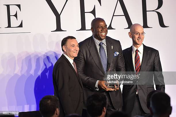 Time Inc Sports Group Editor Paul Fichtenbaum Magic Johnson and Adam Silver attends the Sportsman Of The Year 2014 Ceremony on December 9 2014 in New...