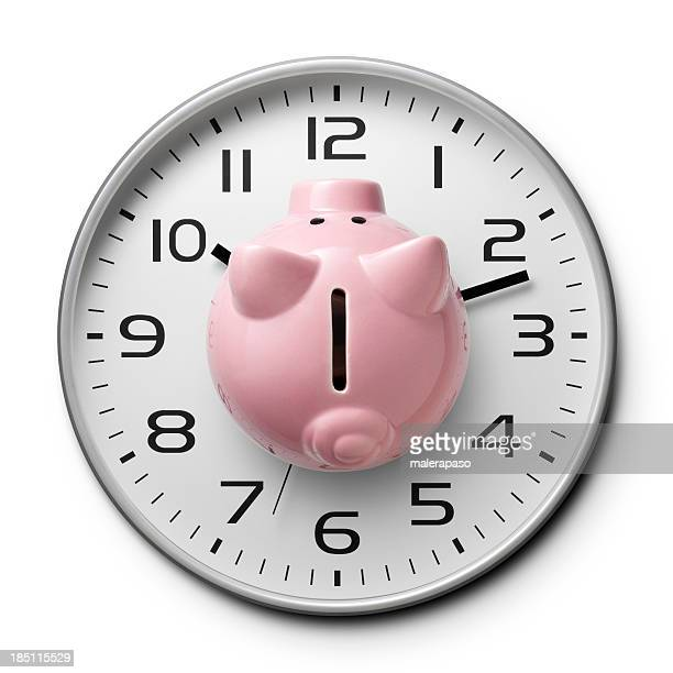 Time Is money. Watch with a piggy bank.