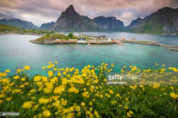 Time lapse shot of  Norwegian fishing village  at the Lofoten Islands in Norway. Dramatic sunset clouds moving over steep mountain peaks.