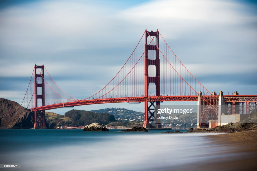 Time lapse view of ocean under Golden Gate Bridge, San Francisco, California, United States : Stock Photo