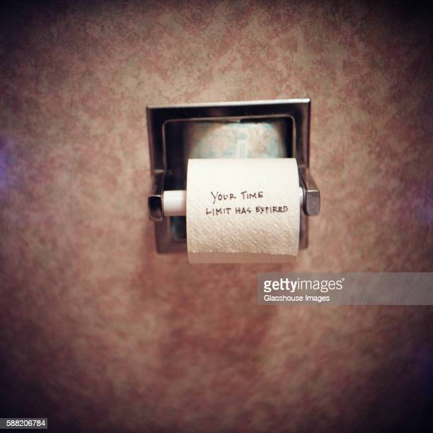 time limit message on toilet paper - funny toilet paper stock pictures, royalty-free photos & images