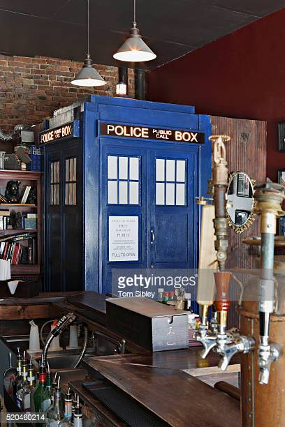 tardis time machine rest room - television show stock pictures, royalty-free photos & images