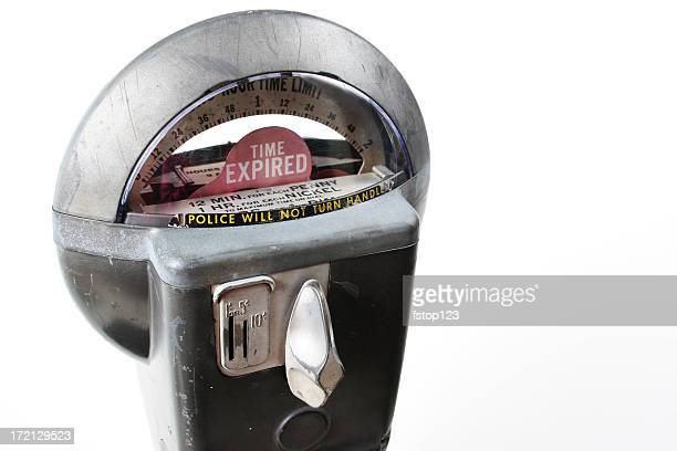 time. parking meter. time has expired, insert another coin. antique. - parking meter stock photos and pictures