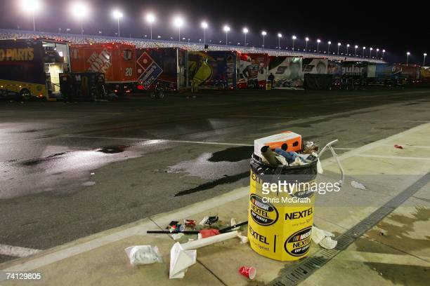 Time shot 819 pm A full rubbish bin is all that's left after teams load there trucks and prepare to drive out after the NASCAR Nextel Cup Series...