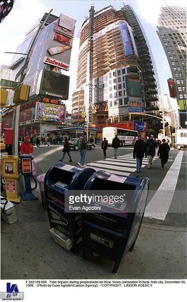 Time Square during preparations for New Years celebration in New York city December 29 1999