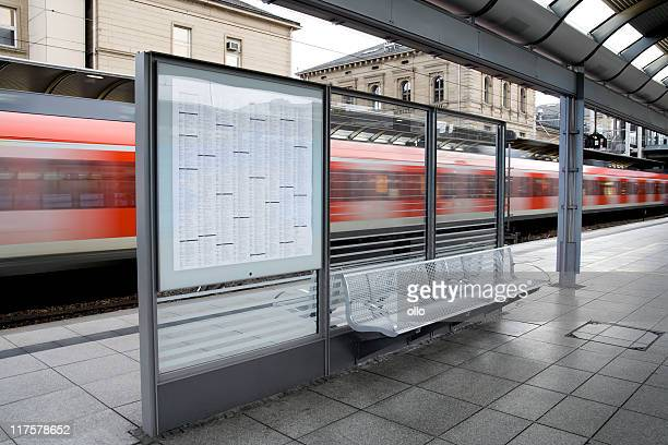 Time table, waiting seat and train