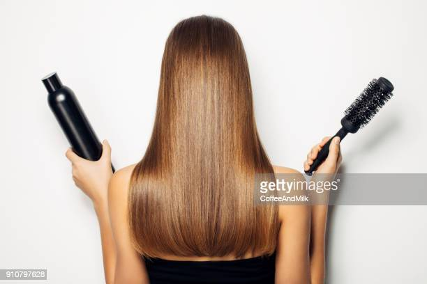 time to change hairstyles concept with hair cutting - penteando imagens e fotografias de stock