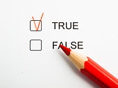 Time to choose true not false with red pencil