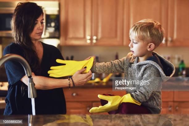 time to get those gloves on! - kids with cleaning rubber gloves stock pictures, royalty-free photos & images