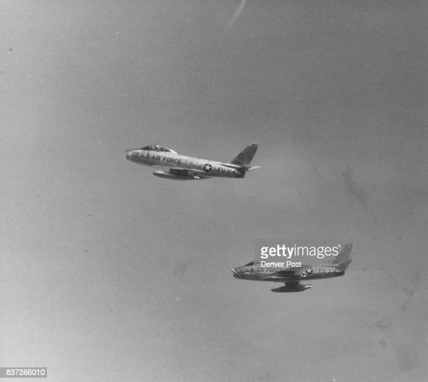 Time To Hit The Dirt Two F84 jet fighters zoom overhead to give the cadets practice in lying low during a strafing attack Credit Denver Post