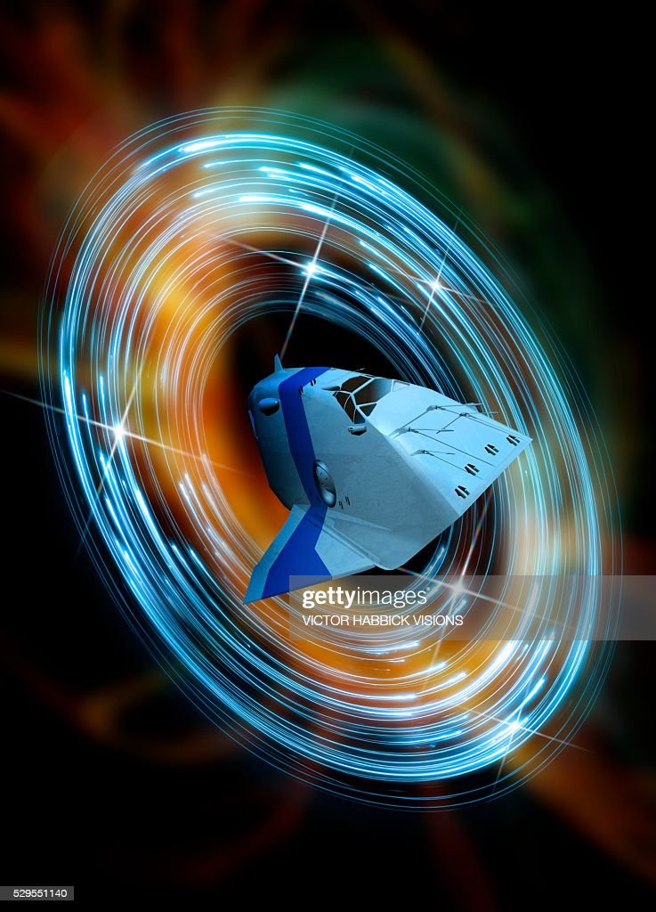Time travelling spacecraft, artwork : Stock Photo