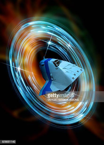 time travelling spacecraft, artwork - victor habbick stock pictures, royalty-free photos & images