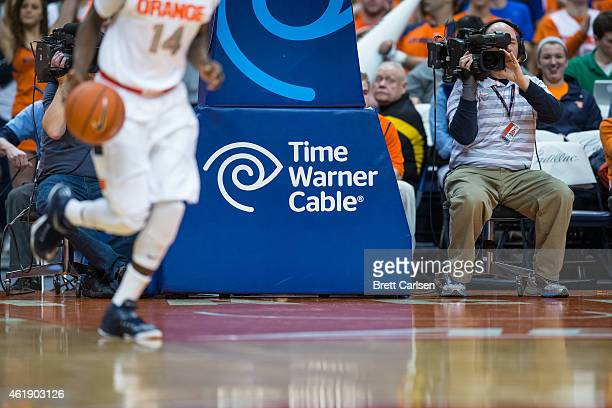 Time Warner Cable advertisement on the basket during the game between the Syracuse Orange and the Boston College Eagles on January 20 2015 at The...