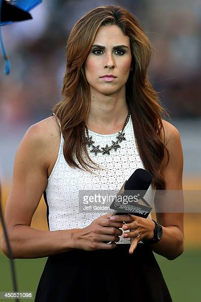 Time Warner Cable SportsNet sideline reporter Kelli Tennant looks on from the field before the MLS match between the Philadelphia Union and the Los...