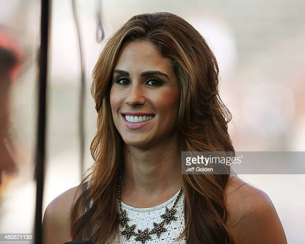 Time Warner Cable SportsNet sideline reporter Kelli Tennant smiles from the field before the MLS match between the Philadelphia Union and the Los...