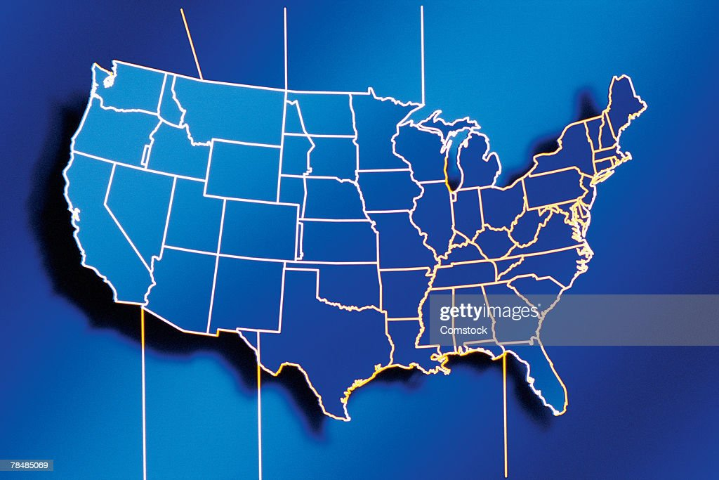Usa Time Zone Map Stock Photo | Getty Images