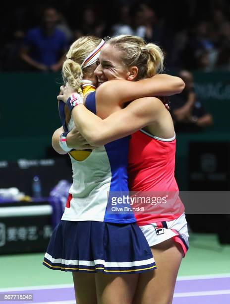 Timea Babos of Hungary and Andrea Hlavackova of Czech Republic celebrate victory in the Doubles Final against Johanna Larsson of Sweden and Kiki...