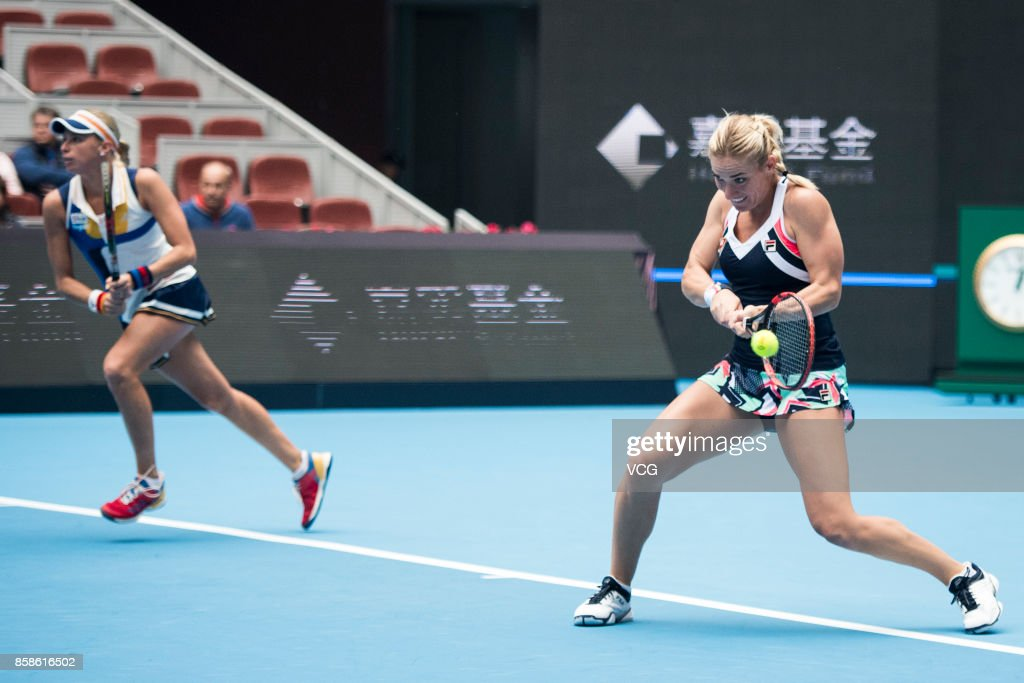 Timea Babos of Hungary and Andrea Hlavackova of Czech Republic return a shot during the Women's doubles semifinals match against Ekateria Makarova of Russia and Elena Vesnina of Russia on day eight of 2017 China Open at the China National Tennis Centre on October 7, 2017 in Beijing, China.