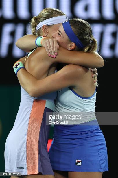 Timea Babos of Hungary and Kristina Mladenovic of France celebrate after winning their Women's Doubles Final match against SuWei Hsieh of Taiwan and...