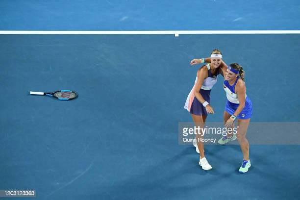 Timea Babos of Hungary and Kristina Mladenovic of France celebrate after winning their Women's Doubles Final match against Su-Wei Hsieh of Taiwan and...