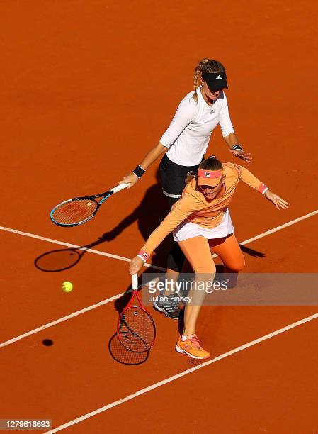 Timea Babos of Hungary and Kristina Mladenovic of France play during their Women's Doubles Final against Desirae Krawczyk of The United States of...