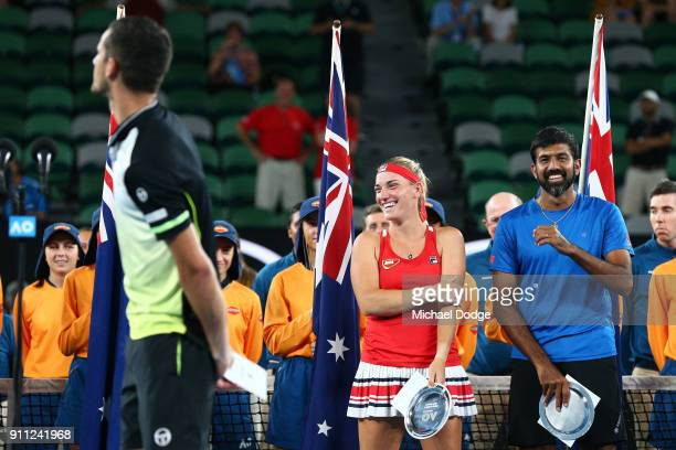 Timea Babos of Hungary and Rohan Bopanna of India are seen with the runnersup trophy after losing the mixed doubles final to Mate Pavic of Croatia...