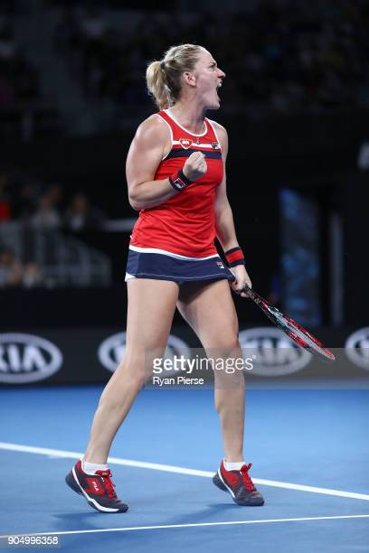 Timea Babos of Hungary celebrates winning a point in her first round match against CoCo Vandeweghe of the United States on day one of the 2018...