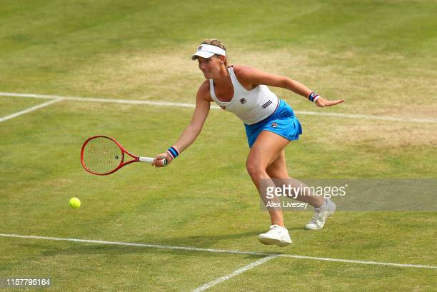 Timea Babos of Hungary in action during her defeat by Monica Niculescu of Romania in the Women's Final at Ilkley Lawn Tennis Squash Club on June 23...