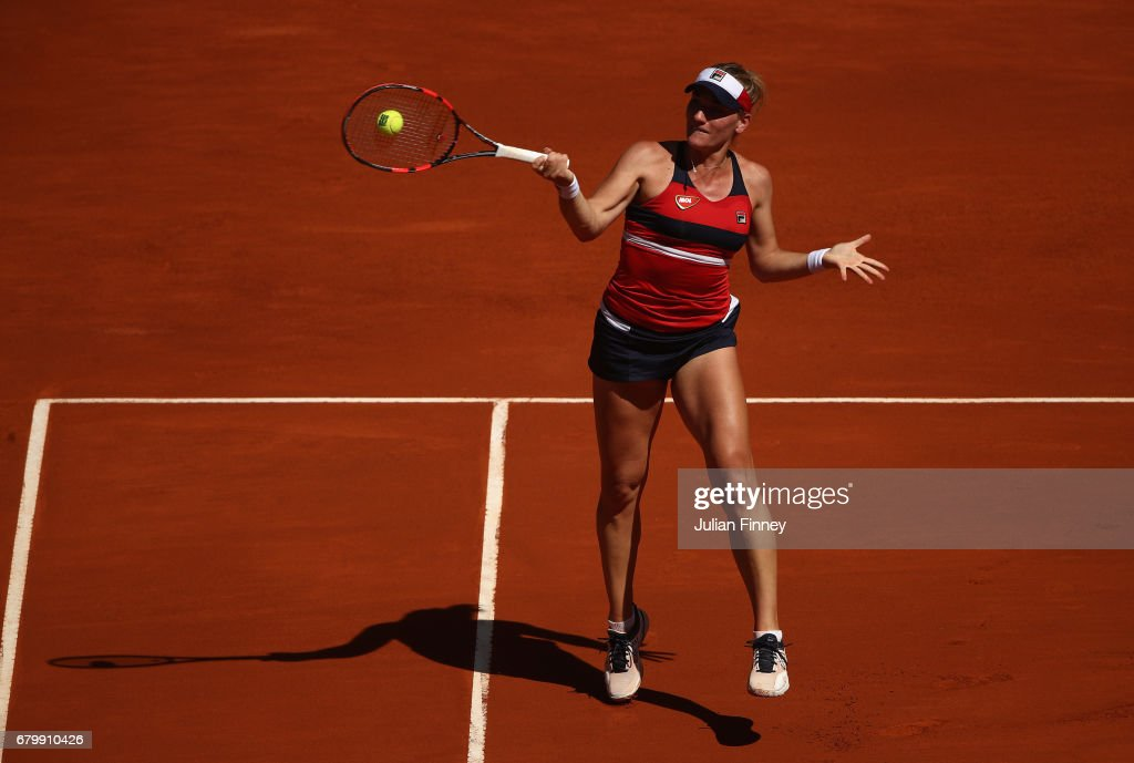 Timea Babos of Hungary in action in her match against Angelique Kerber of Germany during day two of the Mutua Madrid Open tennis at La Caja Magica on May 7, 2017 in Madrid, Spain.