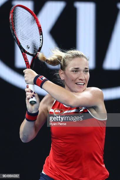 Timea Babos of Hungary plays a backhand in her first round match against CoCo Vandeweghe of the United States on day one of the 2018 Australian Open...
